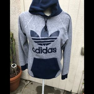Vintage Adidas Navy and grey hooded sweatshirt med
